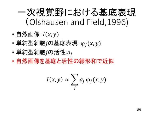 一次視覚野における基底表現 (Olshausen and Field,1996) • 自然画像:𝐼 𝑥, 𝑦 • 単純型細胞𝑗の基底表現:φ 𝑗(𝑥, 𝑦) • 単純型細胞𝑗の活性:𝑎𝑗 • 自然画像を基底と活性の線形和で近似 𝐼 𝑥, 𝑦 ≈...