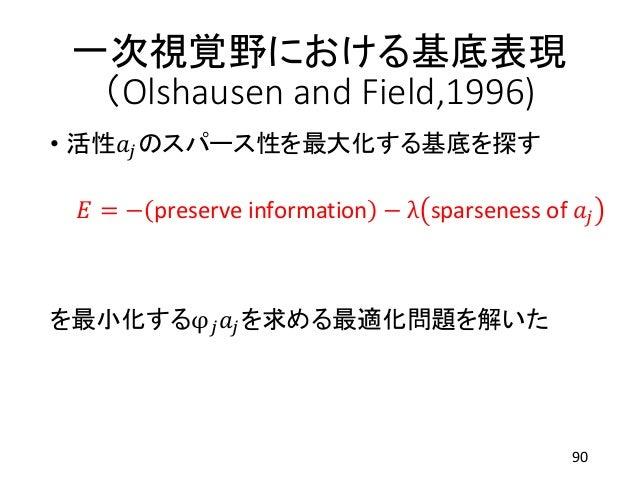 一次視覚野における基底表現 (Olshausen and Field,1996) • 活性𝑎𝑗のスパース性を最大化する基底を探す 𝐸 = − preserve information − λ sparseness of 𝑎𝑗 を最小化するφ 𝑗...