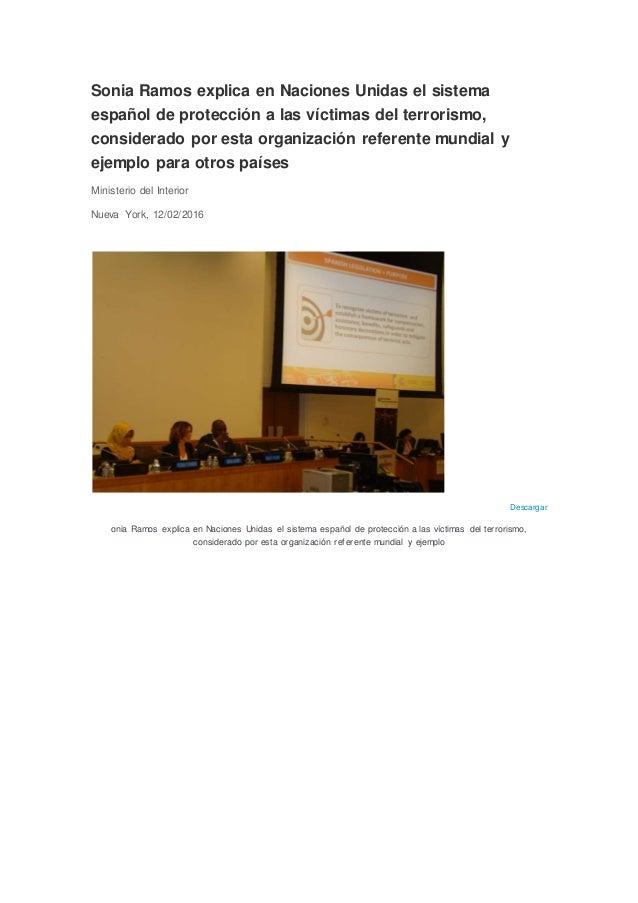 Sonia Ramos explica en Naciones Unidas el sistema español de protección a las víctimas del terrorismo, considerado por est...