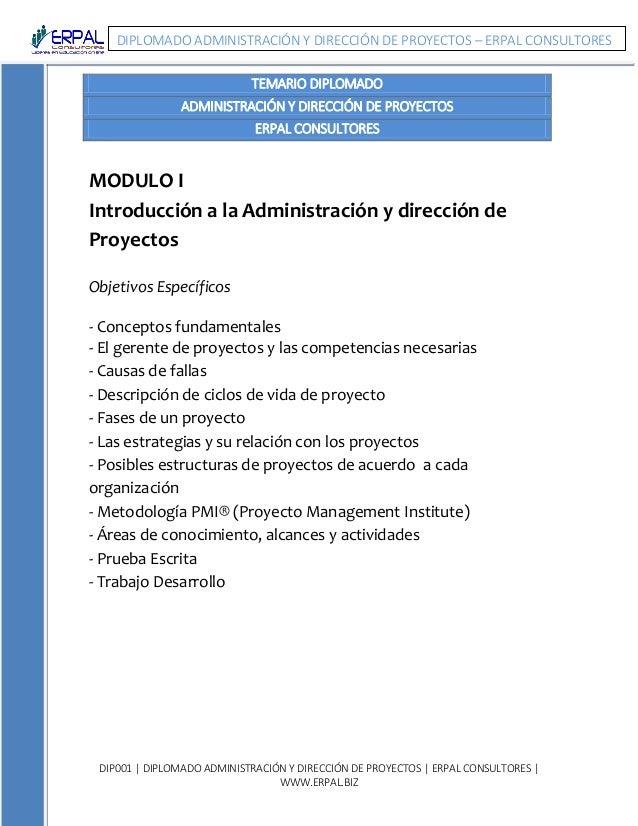 DIP001 | DIPLOMADO ADMINISTRACIÓN Y DIRECCIÓN DE PROYECTOS | ERPAL CONSULTORES | WWW.ERPAL.BIZ DIPLOMADO ADMINISTRACIÓN Y ...