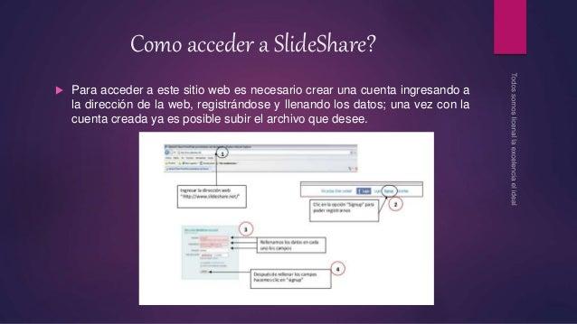 Como acceder a SlideShare?  Para acceder a este sitio web es necesario crear una cuenta ingresando a la dirección de la w...