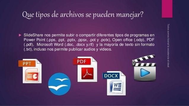 Que tipos de archivos se pueden manejar?  SlideShare nos permite subir o compartir diferentes tipos de programas en Power...