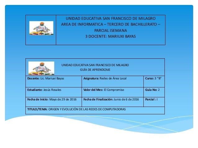 UNIDAD EDUCATIVA SAN FRANCISCO DE MILAGRO AREA DE INFORMATICA – TERCERO DE BACHILLERATO – PARCIAL ISEMANA 3 DOCENTE: MARIU...