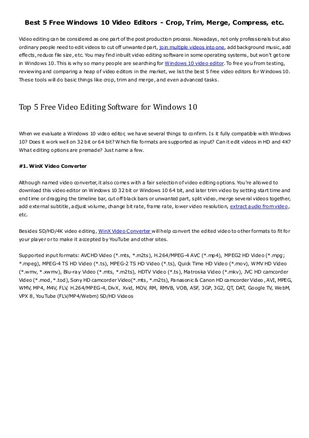 Best 5 Free Windows 10 Video Editors - Crop, Trim, Merge