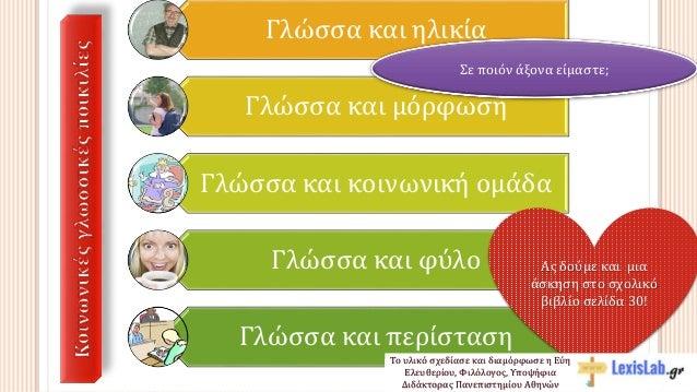 Γλώσσα και ηλικία Γλώσσα και μόρφωση Γλώσσα και κοινωνική ομάδα Γλώσσα και φύλο Γλώσσα και περίσταση Σε ποιόν άξονα είμαστ...