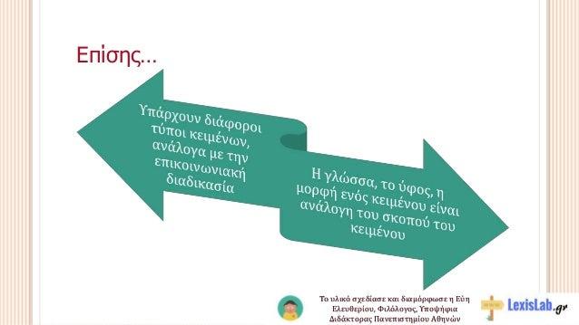Επίσης… Το υλικό σχεδίασε και διαμόρφωσε η Εύη Ελευθερίου, Φιλόλογος, Υποψήφια Διδάκτορας Πανεπιστημίου Αθηνών