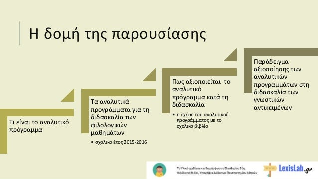 Aναλυτικά προγράμματα σπουδών και σχολικά εγχειρίδια Slide 2