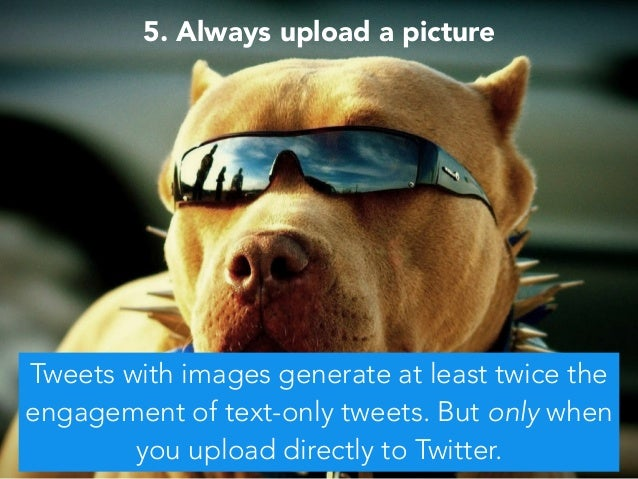 5. Always upload a picture Tweets with images generate at least twice the engagement of text-only tweets. But only when yo...