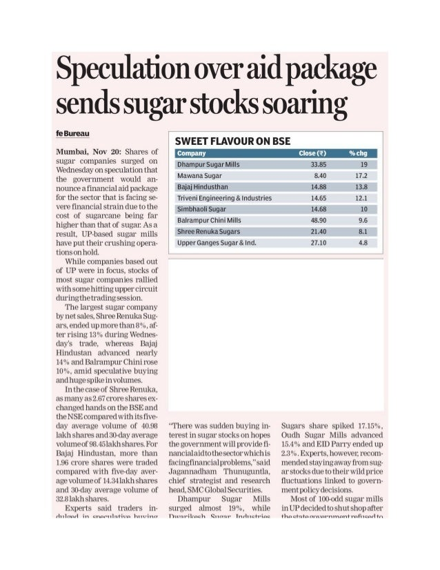 Speculation over aid package sends sugar prices soaring - 21.11.2013