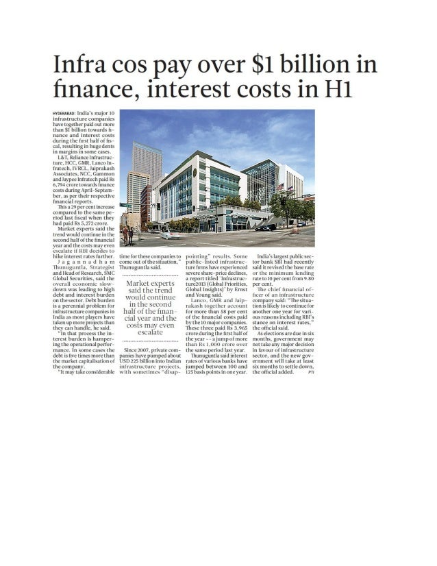 Infra cos pay over $1 billion in finance, interest costs in H1 - 25.11.2013