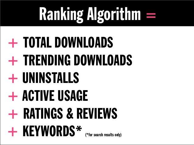 Ranking Algorithm =+ TOTAL DOWNLOADS+ TRENDING DOWNLOADS+ UNINSTALLS+ ACTIVE USAGE+ RATINGS & REVIEWS+ KEYWORDS* (*for sea...