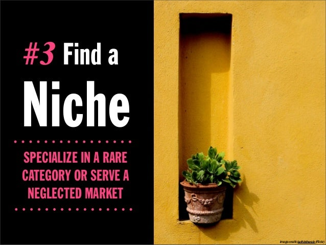 #3 Find aNicheSPECIALIZE IN A RARECATEGORY OR SERVE A NEGLECTED MARKET                       Image credit: bathintherain (...