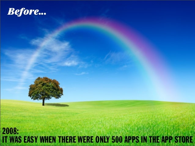 Before...2008:IT WAS EASY WHEN THERE WERE ONLY 500 APPS IN THE APP STORE