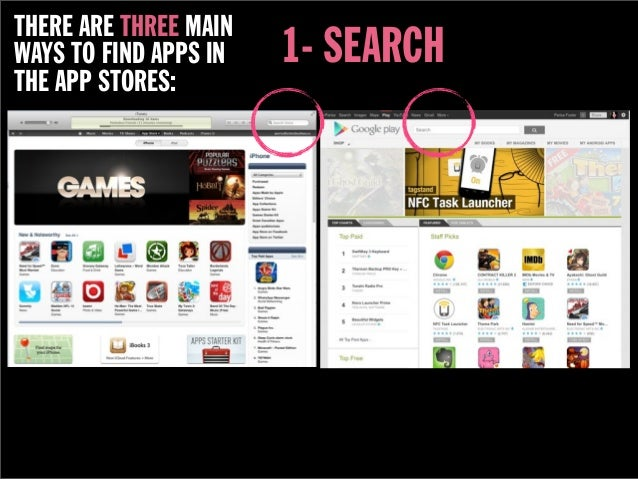THERE ARE THREE MAINWAYS TO FIND APPS IN   1- SEARCHTHE APP STORES: