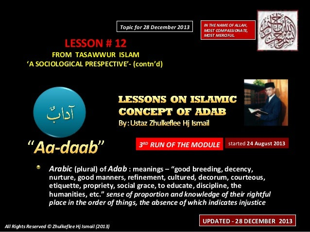Topic for 28 December 2013  LESSON # 12  IN THE NAME OF ALLAH, MOST COMPASSIONATE, MOST MERCIFUL.  FROM TASAWWUR ISLAM 'A ...