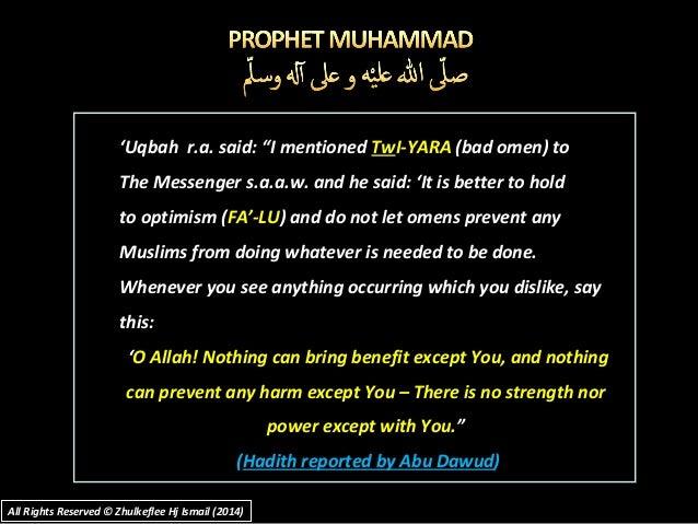 "''Uqbah r.a. said: ""I mentionedUqbah r.a. said: ""I mentioned TwTwI-YARAI-YARA (bad omen) to(bad omen) to The Messenger s.a..."