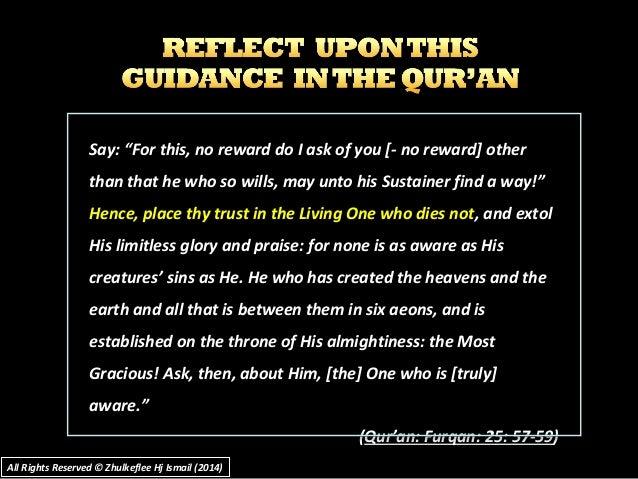 "Say: ""For this, no reward do I ask of you [- no reward] otherSay: ""For this, no reward do I ask of you [- no reward] other..."