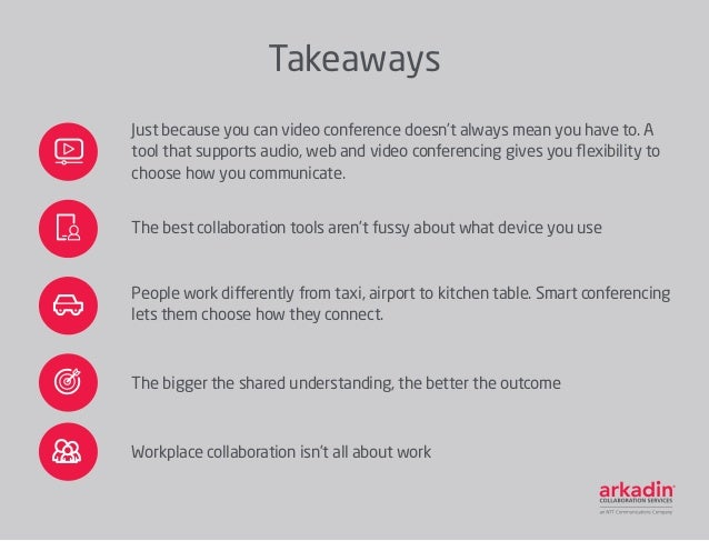 Takeaways Just because you can video conference doesn't always mean you have to. A tool that supports audio, web and video...