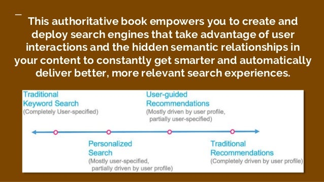 This authoritative book empowers you to create and deploy search engines that take advantage of user interactions and the ...