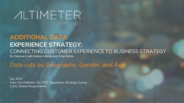 1 ADDITIONAL DATA EXPERIENCE STRATEGY: CONNECTING CUSTOMER EXPERIENCE TO BUSINESS STRATEGY By Charlene Li with Aubrey Litt...