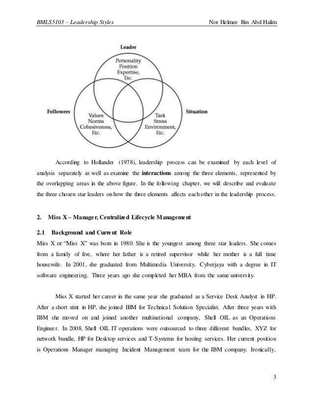 BMLS5103 – Leadership Styles Nor Helmee Bin Abd Halim 3 According to Hollander (1978), leadership process can be examined ...