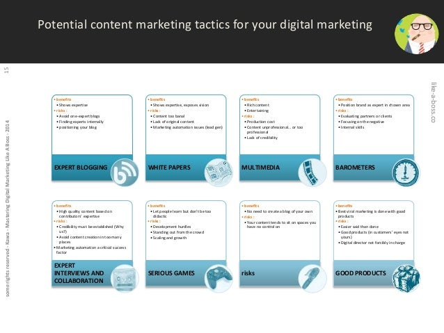 some rights reserved - Kawa - Mastering Digital Marketing Like A Boss - 2014 15  Potential content marketing tactics for y...