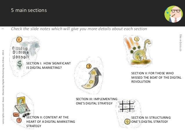 some rights reserved - Kawa - Mastering Digital Marketing Like A Boss - 2014 5  5 main sections  Check the slide notes whi...