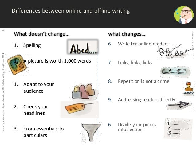 some rights reserved - Kawa - Mastering Digital Marketing Like A Boss - 2014 6  Differences between online and offline wri...