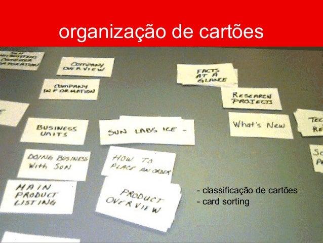 organização de cartões - classificação de cartões - card sorting