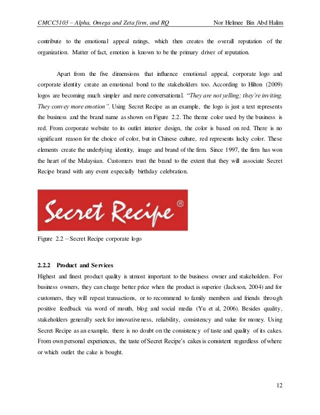 mission and vision of secret recipe