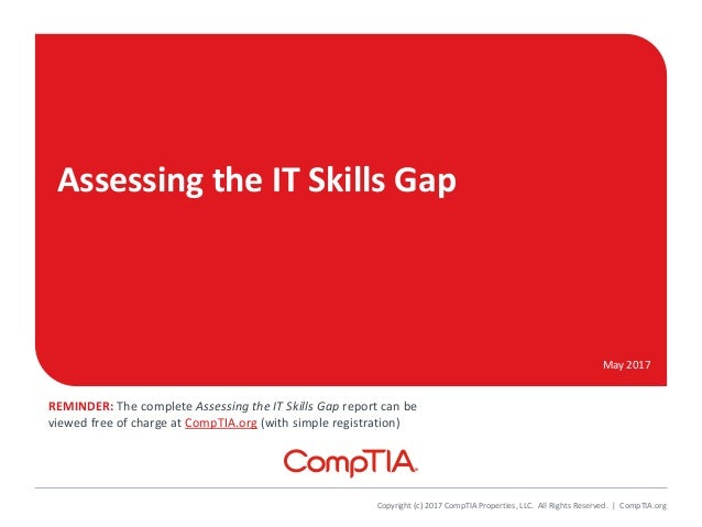 Assessing the IT Skills Gap May 2017 Copyright (c) 2017 CompTIA Properties, LLC. All Rights Reserved. | CompTIA.org REMIND...