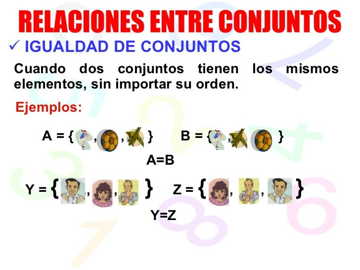 <ul><li>IGUALDAD DE CONJUNTOS </li></ul>Cuando dos conjuntos tienen los mismos elementos, sin importar su orden. Ejemplos:...