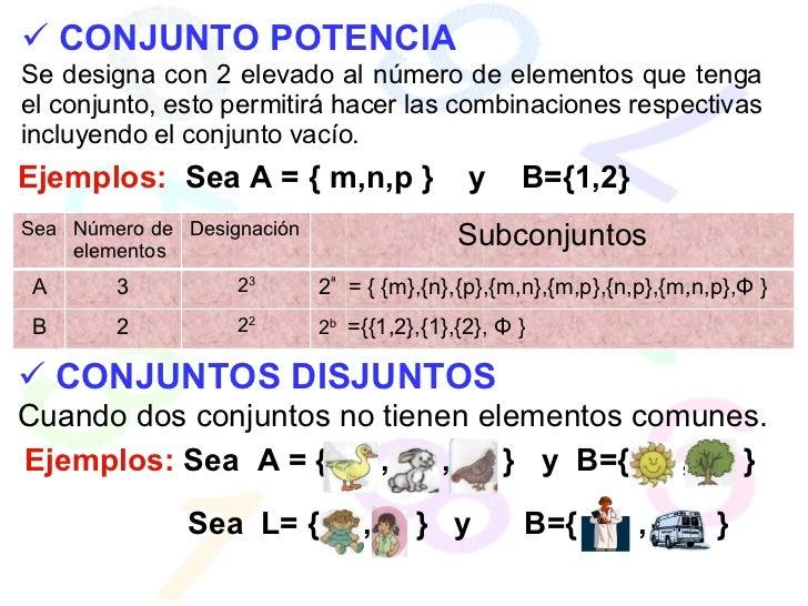 <ul><li>CONJUNTO POTENCIA </li></ul>Se designa con 2 elevado al número de elementos que tenga el conjunto, esto permitirá ...