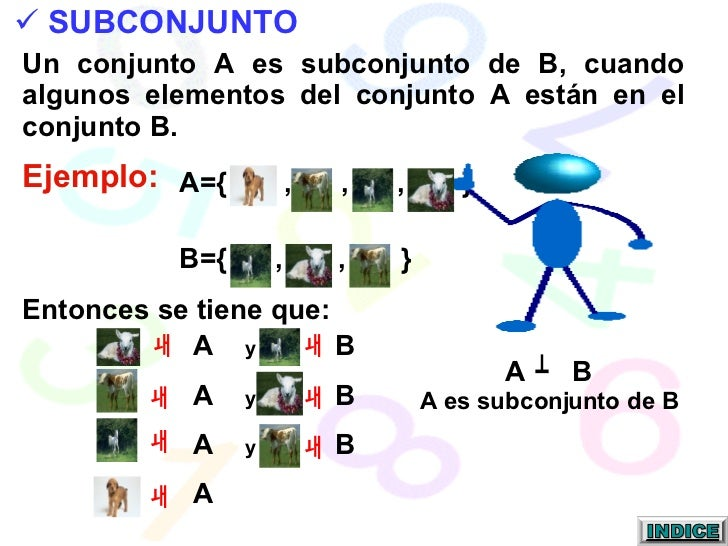 A  y   B  A  y   B A  y   B A  Entonces se tiene que: A  B A es subconjunto de B <ul><li>SUBCONJUNTO </li></ul>Un conjunto...