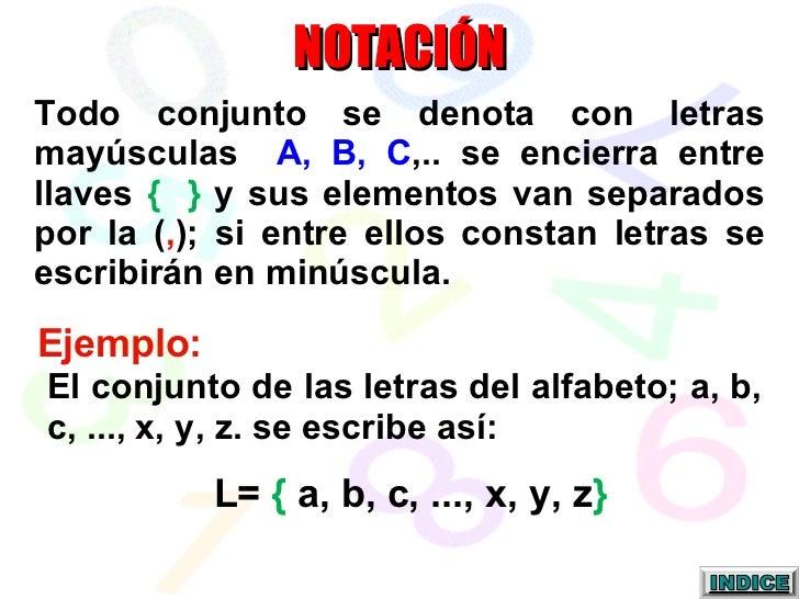 NOTACIÓN Todo conjunto se denota con letras mayúsculas  A, B, C ,.. se encierra entre llaves  {  }  y sus elementos van se...