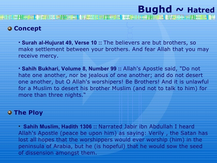 Bughd ~  Hatred Concept Surah al-Hujurat 49, Verse 10 ::  The believers are but brothers, so make settlement between your ...