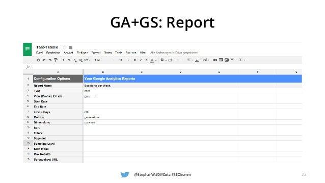GA+GS: Report @StephanW #DIYData #SEOkomm 22