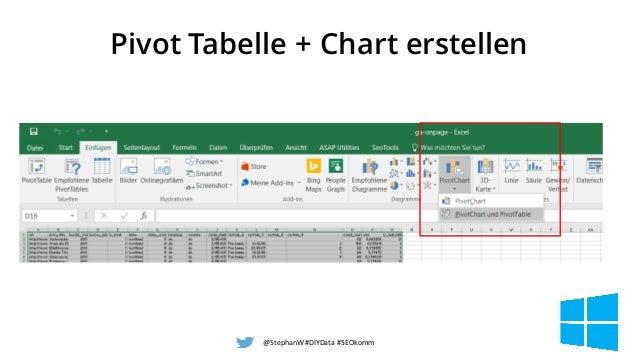 Pivot Tabelle + Chart erstellen @StephanW#DIYData#SEOkomm 49