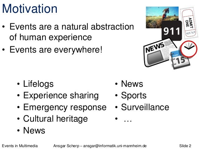 Events in Multimedia - Theory, Model, Application Slide 2