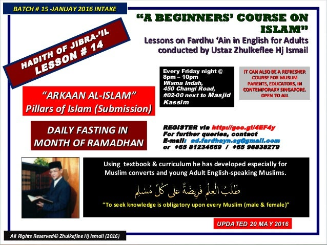 """""A BEGINNERS' COURSE ONA BEGINNERS' COURSE ON ISLAM""ISLAM"" Lessons on Fardhu 'Ain in English for AdultsLessons on Fardhu ..."
