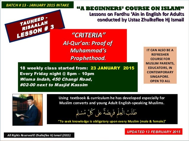 """""""""""A BEGINNERS' COURSE ON ISLAM""""A BEGINNERS' COURSE ON ISLAM"""" Lessons on Fardhu 'Ain in English for AdultsLessons on Fardhu..."""