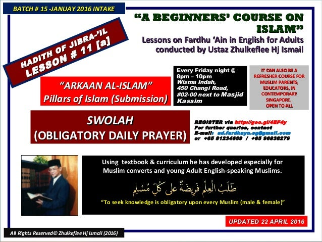 """""""""""A BEGINNERS' COURSE ONA BEGINNERS' COURSE ON ISLAM""""ISLAM"""" Lessons on Fardhu 'Ain in English for AdultsLessons on Fardhu ..."""