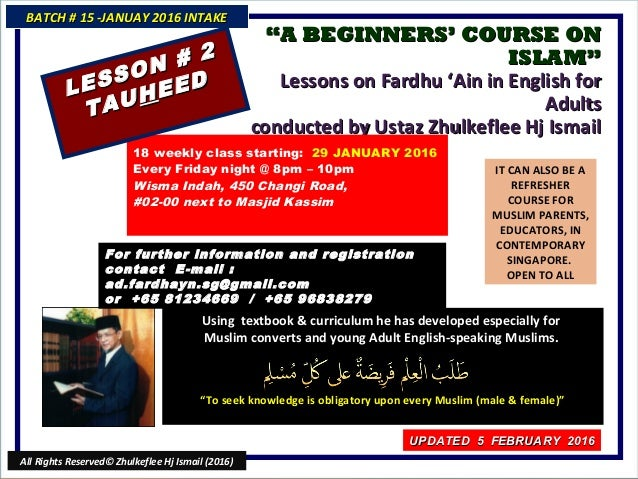 """""A BEGINNERS' COURSE ONA BEGINNERS' COURSE ON ISLAM""ISLAM"" Lessons on Fardhu 'Ain in English forLessons on Fardhu 'Ain in..."