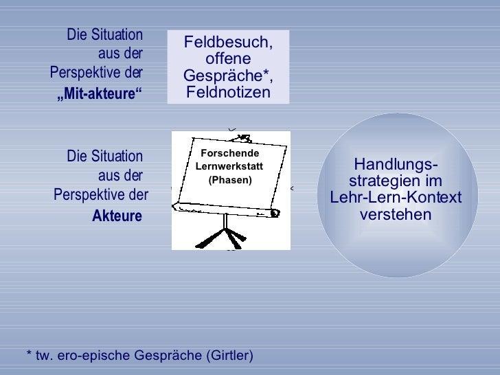 """Die Situation  aus der  Perspektive der   """"Mit-akteure""""   Feldbesuch, offene Gespräche*, Feldnotizen Die Situation  aus de..."""