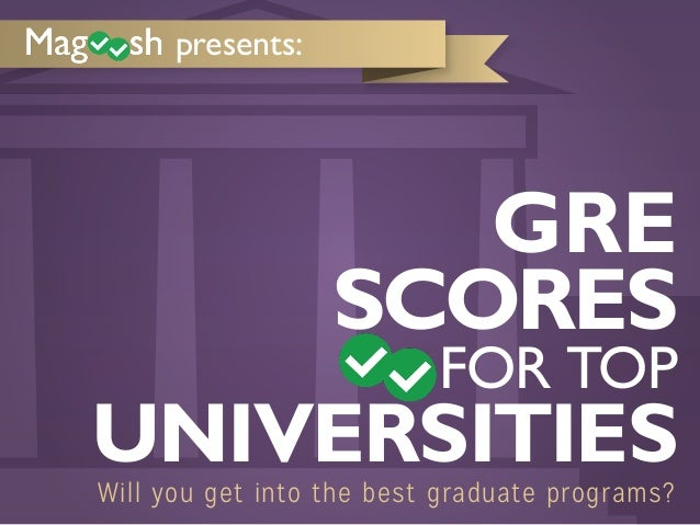 presents:  GRE SCORES  FOR TOP  UNIVERSITIES Will you get into the best graduate programs?
