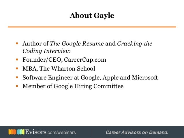 2 about gayle author of the google resume