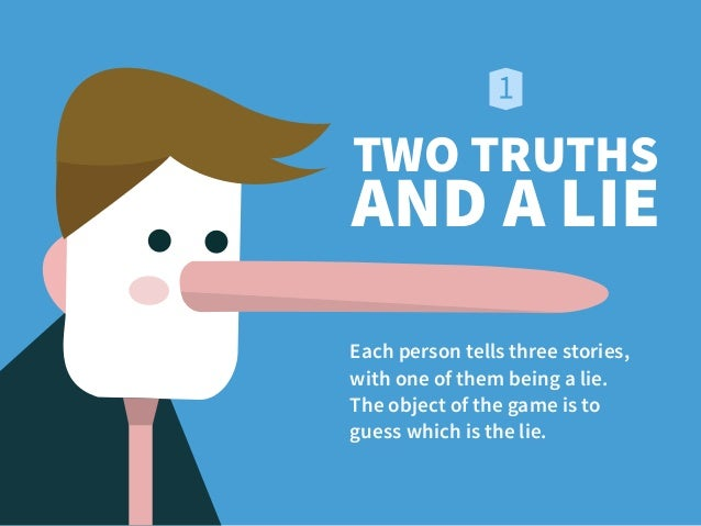 TWO TRUTHS AND A LIE Each person tells three stories, 