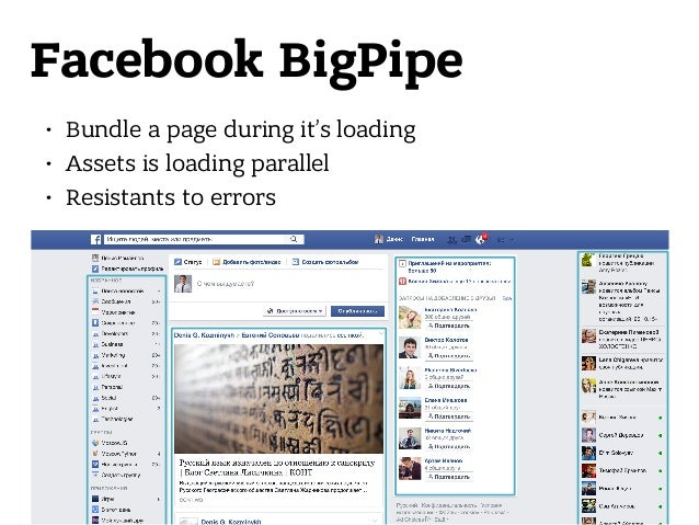 Facebook BigPipe • Bundle a page during it's loading • Assets is loading parallel • Resistants to errors