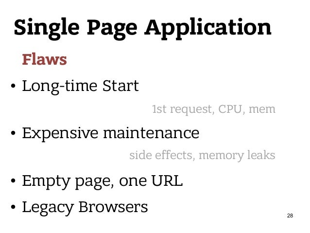 Single Page Application Flaws • Long-time Start • Expensive maintenance • Empty page, one URL • Legacy Browsers 1st reques...