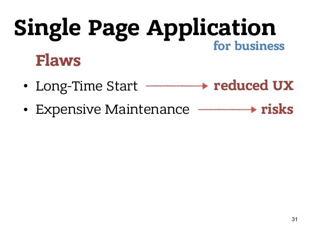 Single Page Application Flaws • Long-Time Start • Expensive Maintenance for business reduced UX risks 31